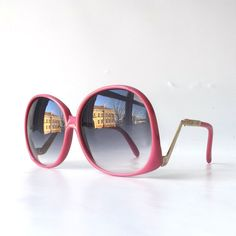 vintage 80's NOS oversized round sunglasses frame plastic fashion accessories sun glasses retro modern purple rose pink drop arm fuschia old by RecycleBuyVintage on Etsy