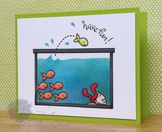 Lawn Fawn - Critters in the Sea _ this is such a fun card design by Jenny! Fishy Fun | Flickr - Photo | http://cutegreetingcards.blogspot.com