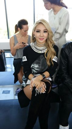 "Womensweardaily: ""Chaelin from 2NE1 sitting front row at Hood By Air """