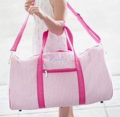 Pink Seersucker Duffle Bag ~ Monogrammed Kids Duffle bag ~ Monogrammed Seersucker overnight bag