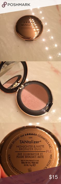 LORAC TANTALIZER DUO 💕 Travel size 6g. Highlighter and matte bronzer duo from LORAC. Great for make up bag and traveling 👍 nice and compact. SWATCHED ONCE LIKE NEW. 😍 Lorac Makeup Bronzer