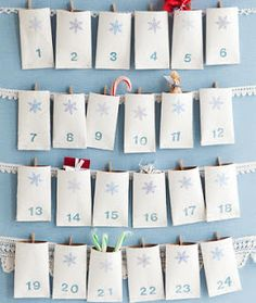 Empty toilet roll calendar - flatten and glue 1 end, attach to ribbon and fill with 30 gifts for Ramadan.