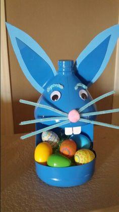 Easter Bunny basket from a gallon vinegar or bleach bottle.