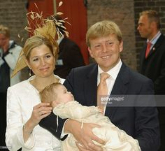 HRH Princess Maxima, Princess Catharina-Amalia nd HRH Prince Willem Alexander leave the Christening of baby girl Catharina-Amalia, daughter of Dutch Crown Prince Willem Alexander and Princess Maxima at the Hague on June 12, 2004 in Amsterdam, The Netherlands. Her parents announced the birth of their daughter Princess Amalia - who is the heir to the Dutch throne - on December 7, 2003. (Photo by Steve Finn/Getty Images)