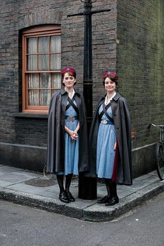 Jennifer Kirby joins the midwifery team as ex-Army nurse Valerie Dyer - pictured right with fellow midwife Barbara Gilbert played by Charlotte Ritchie Charlotte Ritchie, Nurse Cape, Call The Midwife, Vintage Nurse, Theatre Costumes, Military Women, Nursing Dress, Cosplay, Rain Wear