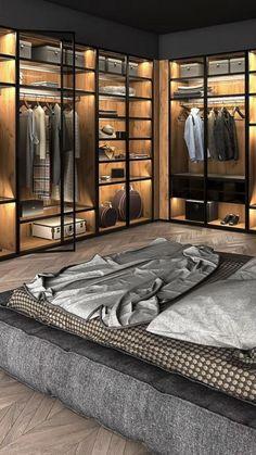 Modern Luxury Bedroom, Luxury Bedroom Design, Luxurious Bedrooms, Interior Design, Wardrobe Design Bedroom, Home Room Design, Master Bedroom Design, Master Suite, Dressing Room Design