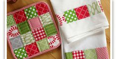 Change The Colors To Fit The Occasion! Simple patchwork makes this kitchen set special, and is a great way to use up some of those scraps. This version will be perfect for Christmas giving and can easily be adapted for other occasions too. Just change the colors! Adding patchwork to dish towels is super easy. …