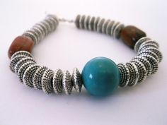 Southwestern 7.5 inch Bracelet made of Red Jasper, Turquoise and Silver for sale at PSP Unique Jewelry @etsy.com Gemstone Jewelry, Unique Jewelry, Red Jasper, Beautiful One, Psp, Bracelet Making, Beaded Bracelets, Turquoise, Gemstones
