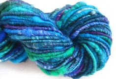 handspun corespun art yarn Peacock 35 yds by SpinningWheelStudio, $14.00