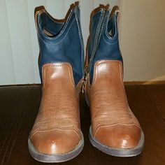 Cowboy Boots Cognac and Navy Blue short Cowboy Boots!Excellent condition! MIA Shoes Ankle Boots & Booties