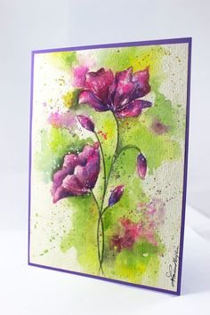 """Watercolor Card, Poppies, OOAK - Handpainted, Cotton Rag Paper, Pink Poppies, 5""""x7"""", Watercolour Card"""