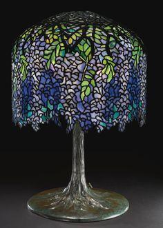 "** Tiffany Studios A SUPERB ""WISTERIA"" TABLE LAMP"