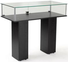 Gl Pedestal Showcase Tempered Case Black Veneer Finish Display