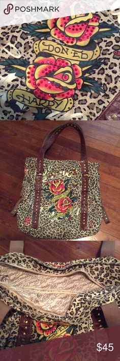 Ed Hardy Oversized Bag Authentic, leopard print, red detailing, brown straps with gold stud detai, by cool Ed Hardy!  Two side pockets outside and zipper pocket inside.  Deep and large!  Perfect condition. Ed Hardy Bags Hobos