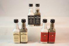 Plastic Mini Whiskey Bottle Salt and Pepper Shaker Set