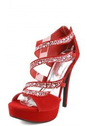 Yamila02 Strappy Rhinestone High Heels RED--only $35.20!!! Rhinestone Shoes, Types Of Shoes, Beautiful Shoes, High Heels, Pumps, Spaces, Sandals, My Style, Red