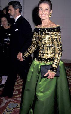 Audrey Hepburn at the Casita Maria Fiesta benefit in New York City with Robert Wolder October 27, 1992.