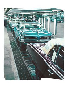 "1966 Pontiac GTO assembly Photo Blanket / Wall Banner 50 x 60"" or 60 x 80"""