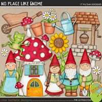 No Place Like Gnome - Gardening digital scrapbook elements / cute garden gnome clip art! Hand-drawn illustrations for digital scrapbooking, crafting and teaching resources from Kate Hadfield Designs. Scrapbook Designs, Scrapbooking Layouts, Scrapbook Pages, Digital Scrapbooking, Birthday Scrapbook, Printable Crafts, Printables, Gnome Garden, Line Art