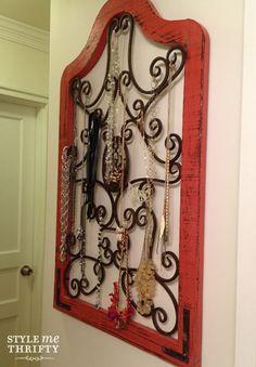 #Jewelry #storage idea: iron and wood frame.