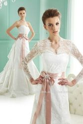 White and Pink Detachable Lace Long Sleeve Wedding Dresses - Scratch the pink!