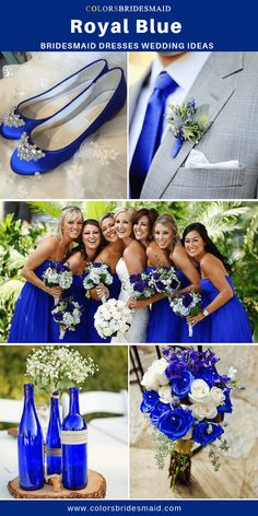 Royal blue bridesmaid dresses long in strapless neckline pair with royal blue wedding shoes and tie grey men s suit and wedding flowers and bouquets in royal blue and white colors colsbm bridesmaids royalbluedress weddingideas royalbluewedding Grey Blue Bridesmaid Dresses, Royal Blue Bridesmaid Dresses, Royal Blue Dresses, Colbalt Blue Dress, Royal Blue Flowers, Bridesmaid Gifts, Summer Wedding Colors, White Wedding Flowers, White Bridal