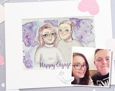 ♡ D E S C R I P T I O N ♡  Hand Painted Custom Portrait , Painted from your Photos, unique and personally illustrated just for you, with Custom Coloured Background. (Select your Number of Characters in the Variables) This listing includes:  ♡ Beautifully Hand Painted Illustration, painted with Winsor and Newton watercolours, on 300 gsm cold pressed watercolour paper, finished with a few glittering gemstones ♡ Surrounding Mount & Backing Board on Premium Bevelled Card…