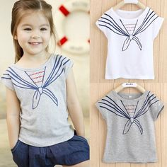 Find More Tees Information about #Baby Kids #Girls #Tops T Shirts Tie Printed Navy Style Short Sleeve #Clothes 1-5y New