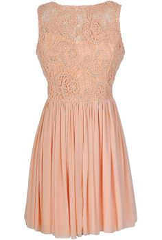 Ready For Romance Crochet Lace Dress in Peach