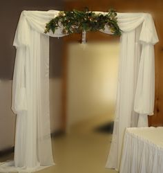 Full view of Peacock Wedding archway made of Chiffon and beading. Check out Party with Pizzazz on Facebook for more ideas.