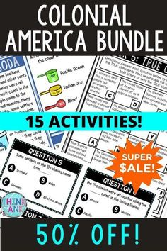 Grab everything you need for your Colonial America Unit. This BUNDLE includes 15 different activities. From Jamestown or the 13 Colonies to the Founding Fathers, there's something for every type of learner! Printable and digital activities for upper elementary or middle school. #13Colonies #ThinkTank #USHistory #HomeSchool #ReadingPassages #4thgrade #5thgrade #6thgrade #CloseReading #MiddleSchool #UpperElementary 4th Grade Ela, 5th Grade Reading, Reading Passages, Reading Comprehension, Colonial America Unit, Types Of Learners, Middle School History, Upper Elementary Resources, 4th Grade Social Studies