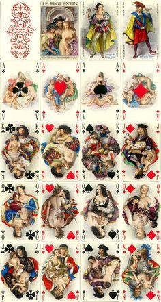 Le Florentin luxury playing cards with miniature paintings by Paul-Émile Bécat, published by Éditions Philibert, Paris, 1956