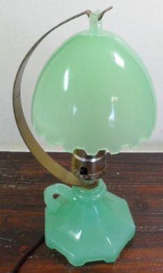 Vintage Art Deco Nouveau Jadite Jadeite Houzex Glass Domed Boudoir Lamp Light