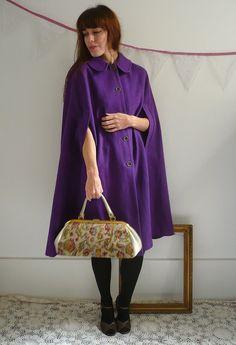 70's Purple Wool Cape Size S/M. £55.00, via Etsy.