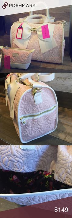 """Betsey Johnson NWT Blush Weekender & Cosmetic bags NWT Betsey Johnson Blush Weekender (BMW1185) includes large, satin-like interior with multi-functional pockets. The black, satin interior is beautifully contrasted with pink Betsey signatures (XOX Betsey) and pink roses.  1 black zippered pocket and 2 interior slip pockets are inside and 2 outside. Both bags still have the protective plastic coverings over the label and handles. Measurements: 12"""" tall, 18"""" wide, and 9.5"""" deep for Weekender…"""