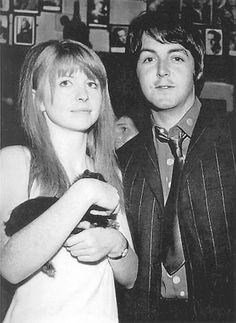 Jane Asher and Paul McCartney - 1967 - notice that his hair parts on the right, where up until late 1966 it always parted on the left --