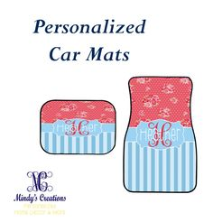 Great Christmas Gifts!  These personalized car mats are excellent gifts for the drivers in your house.  Get them designed just for you.  www.mindymeyer.etsy.com  #personalizedcarmats #christmasgifts #cutecarmats