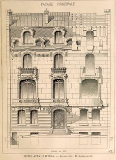 Elevation for a private residence on Avenue d'Iena, Paris