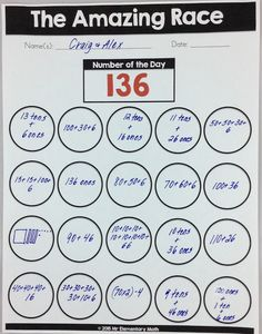 number sense, FREE number of the day worksheet shows the number 136 with multiple representations