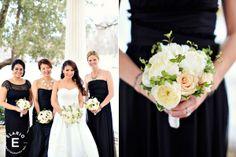 bridesmaids, black bridesmaid dress, wedding, winter weddings, bridesmaid bouquets, peonies #weddings #bouquets #blackbridesmaiddress #bride #peonies
