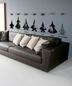 Vinyl Wall Decal Sticker Types of Jets #5014   Stickerbrand wall art decals, wall graphics and wall murals.