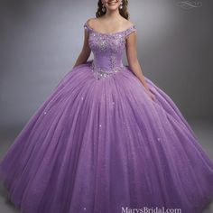 Jeweled Beading on Princess Tulle Ball Gown Lavender Quinceanera Dresses, Lilac Prom Dresses, Pretty Prom Dresses, Most Beautiful Dresses, Quince Dresses, Sweet 16 Dresses, Gypsy Dresses, Ball Gown Dresses, 15 Dresses