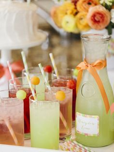 Color-Coded Drinks in Celebrate Mom With a Simple Mother's Day Brunch from HGTV