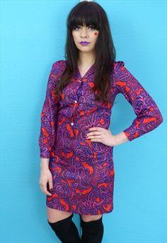 Vintage 70s A Line Psychedelic Shirt Dress #psychedelic #vintage #print #patterns #asosmarketplace #asos #style #vintage #fashion