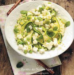 salade de semoule et salakis aux légumes verts