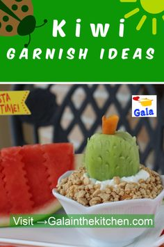 3 Easy And Fun Kiwi Garnish Ideas With Photos - Gala in the kitchen Kid Desserts, Summer Desserts, Summer Recipes, Cute Food, Good Food, Fruit Garnish, Friend Recipe, Food Garnishes, Picnic Foods