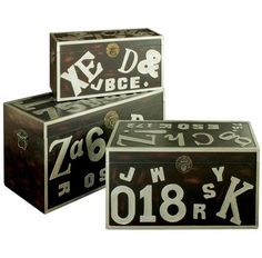 Handcrafted from wood with a fun alphabet design, this trunk set is perfect for de-cluttering your child's playroom. Alphabet Design, Vintage Shabby Chic, Discount Designer, Timeless Design, 3 Piece, Playroom, Everything, Branding Design, Decorative Boxes