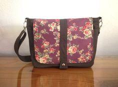 Canvas Messenger Bag in Dark Taupe & Redish Purple, Floral bag, Shoulder bag, Travel, Purse, Cross body Everyday bag, School bag - Kiyomi
