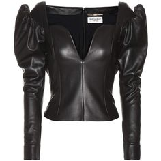 Saint Laurent Leather Top ($3,665) ❤ liked on Polyvore featuring tops, black, leather top and yves saint laurent