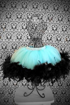 Tiffany Blue and Black Tutu Tutus For Girls, Girls Dresses, Fashion Niños, Feather Tutu, Tulle Crafts, Tutu Costumes, Seussical Costumes, Troll Costume, Diy Tutu